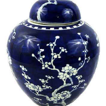 """Vintage Style Blue and White Cherry Blossom Rounded Ginger Jar 10"""""""