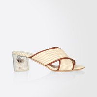 Fabric and leather mules, natural - BRAIES Max Mara