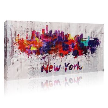 Modern Home Decorative Canvas Painting New York City Landscape Abstract Picture Frameless Wall Hanging