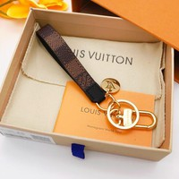 LV Louis Vuitton Fashion simple print and checkered keychain