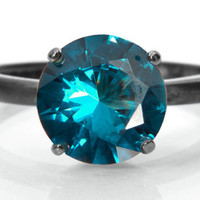 Blue Zircon Solitaire Ring, Silver Tiffany-Set Solitaire with Blue Zircon Gemstone