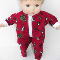 "Bitty Baby Clothes American Girl 15"" Boy Red Burgundy Penguin Zip up Christmas Tree Pajamas"