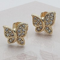 Gold Layered Women Butterfly Stud Earring, with White Micro Pave, by Folks Jewelry