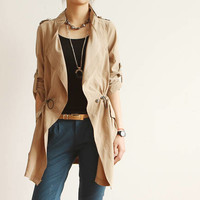 Women : Spring trench coat midi pattern jacket fashion final clearance ghl0169