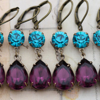 Peacock Wedding Earrings Purple Amethyst Teal Bridesmaids Jewelry 4 Pairs Vintage Earrings Turquoise - Clip ons available