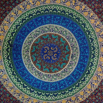 Mandala Queen Size Tapestry, Indian Tapestry Bedding, Blue Color Theme, Beach Throw, Tapestry Wall Hanging, Bohemian Tapestries