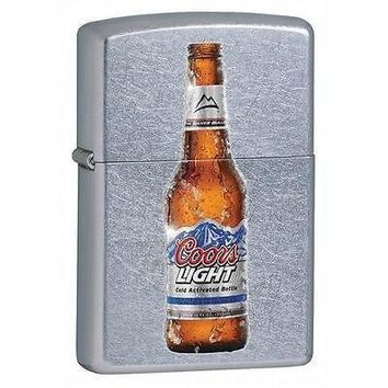 Zippo Coors Light Beer Bottle embossed Street Chrome cigarette Lighter
