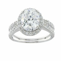 Platinum Plated Sterling Silver Oval Colored Cubic Zirconia Split Shank Ring
