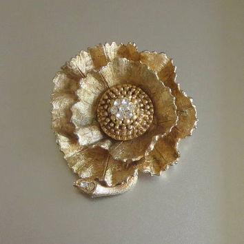 Gold Flower Brooch, Vintage, Brushed Gold Fantasy Flower, Clear Rhinestone Center & Accent Branch, Unusual!