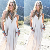 Vintage Hippie Boho People Long Maxi Evening Party Chiffon Dress