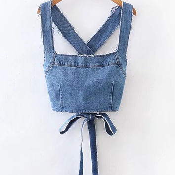 Denim Frayed Detail Criss Cross Back Denim Top