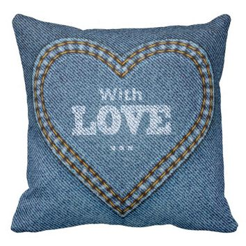 """Patchwork Denim Love"" THROW PILLOW"