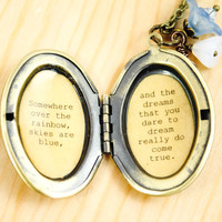 Wizard of Oz Quote Women's Locket - Somewhere Over the Rainbow Lyric Locket - The Wizard of Oz - Graduation Gift