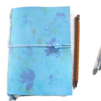 A5 Handmade Journal or Notebook in Blues with Bookmark and Button Closure. Hand stitched. Gift Idea, Stationery,