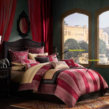 Artology Sari Mini Comforter Set -  Red and Gold