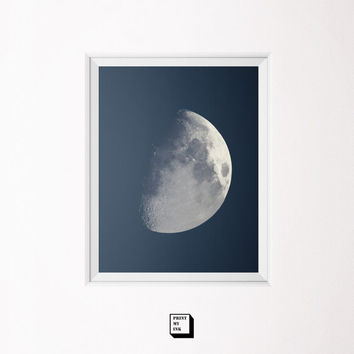 moon photography, moon print, moon wall art, moon poster, moon phase art, wining gibbous phase, moon printable, planets art, astronomy