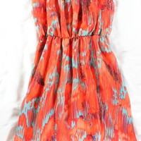 "~~~ FUN IN THE SUN ~~ COLLECTIVE CONCEPTS ""ABSTRACT"" PRINT BLOUSON DRESS ~ S"