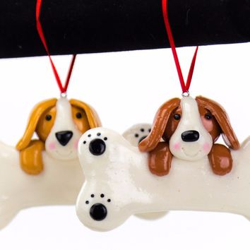 Dog Puppy Personalized Christmas Tree Ornament Clay Dough Style
