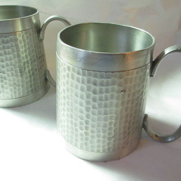 Pair of Hand Hammered Pewter Mugs Cups Penang Malaysia Hallmarked 1970s