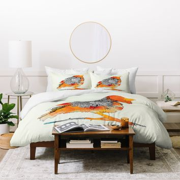 Iveta Abolina Orange Bird Duvet Cover