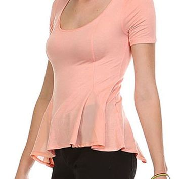 Casual Solid Scoop Neck 1/2 Sleeve Cropped Peplum Chiffon Flare Top