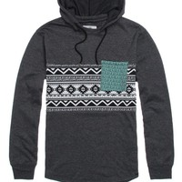 On The Byas Lang Pieced Print Hooded Pullover Shirt - Mens Shirt - Black