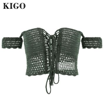 KIGO Summer Sexy Crochet Crop Tops Beach Hollow Out Crop Top See Through Off Shoulder Lace Up Top Boho Knitted Crop Top KF2744H
