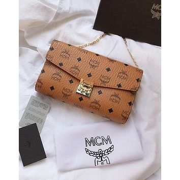 MCM Fashion Women Shopping Bag Leather Metal Chain Shoulder Bag