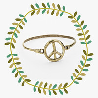 Hippie Peace Sign Bracelet, Vintage Bangle Cuff