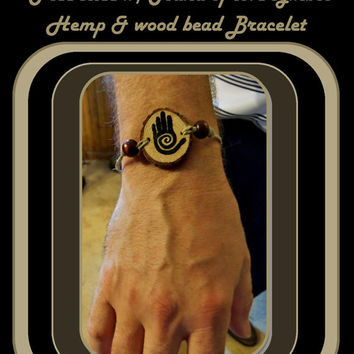 Mans Bracelets, Mens jewelry, Spiral Hand, His Hers jewlery, his hers,couples bracelets, friendship bracelets,  wood jewelry, hemp jewelry