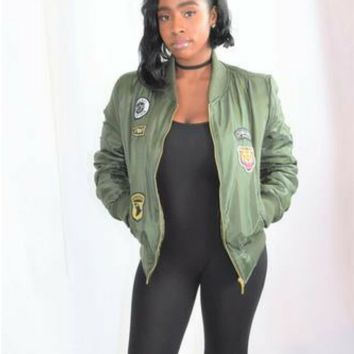 Fall In Line Nylon Quilted Bomber Jacket