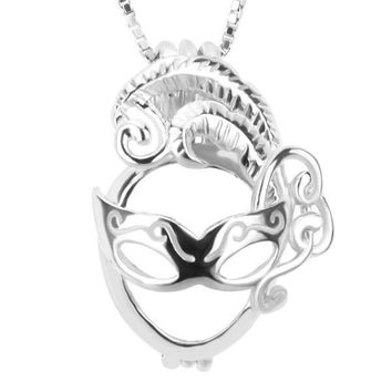 925 Sterling Silver Girls Masquerade Pearl Cage Pendant