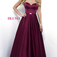 Strapless A-Line Long Blush Prom Dress