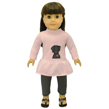 Doll Clothes Fits American Girl & Other 18 Inch Dolls Legging & Shirt Outfit