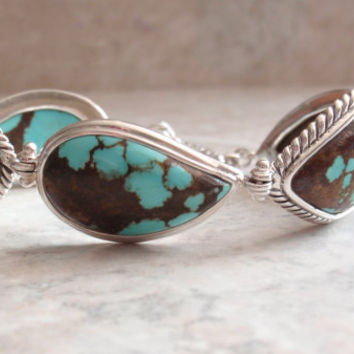 Turquoise Matrix Bracelet Sterling Silver 7 Inch Toggle Clasp Link Barse Vintage CW0318