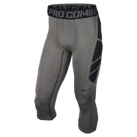 Nike Pro Combat Hypercool Compression 3/4-Length Men's Tights - Carbon Heather