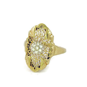 Twinkling Art Deco Diamond Ring in 14k Gold Filigree, Half Carat Antique Diamond Ring, Dinner Ring Style AS IS