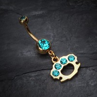 Golden Brass Knuckle Sparkle Belly Ring
