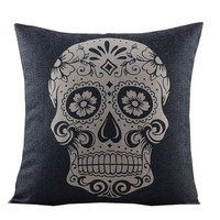 """Create For-Life Cotton Linen Decorative Pillowcase Throw Pillow Cushion Cover Skull Printed Black Square 18"""""""