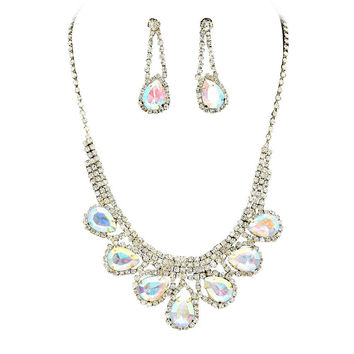 Princess Rhinestone Prom Bridesmaid Evening Necklace Set