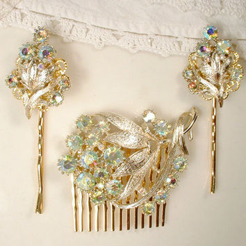 OOAK Set Mint Green Rhinestone Gold Bridal Hair Comb & Hair Pins, Vintage Brooch / Earrings to Wedding Hair Accessories, Bridesmaids Gift