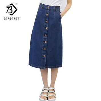 ESBON 2018 Spring And Autumn Denim Skirt Female Korean Style A-line Mid-Calf Length Blue Woman Skirt Office Lady Hot Sales D81419C