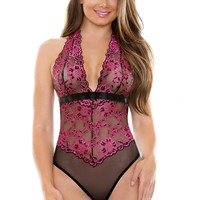 Two Tone Lace Teddy Halter