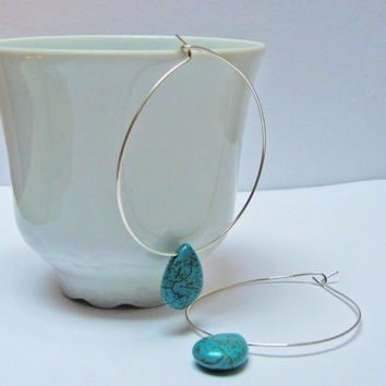 Turquoise Teardrops Earrings, Long Hoop Earrings, Dangle Earrings, 14k Gold Fill or 925 Sterling Silver, Wire Hoop Earings, Modern Earrings
