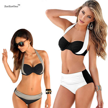 Bikinis 2017 Sexy Female Swimwear Women Push up Swimsuit High Waist Bikini Halter Top Bikini Set Beach Bathing Suit Swim Biquini