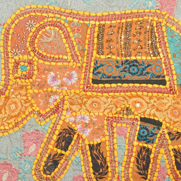 Elephant Indian Embroidered Bedspread Boho Art