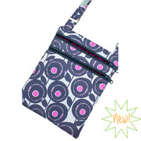 Cross Body Purse -- Gray and Purple Flowers