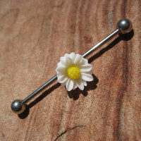 Daisy Industrial Barbell Piercing Bar Surgical Steel Ear Jewelry Earring 14g 14 G Gauge White Flower