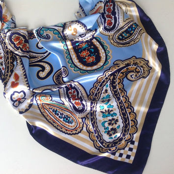 Birthday Gift for Sister Blue Floral scarf, Paisley scarves  Coworker Gift under 10 Gift for Cancer Patients, Gift for Mom,  Hip Scarf