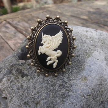 Winged unicorn statement ring, Pegasus ring, black and cream resin cameo, antique bronze, adjustable ring, fantasy ring; UK seller